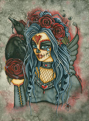 Skull In Rose Painting - Wild Heart by Charity Dauenhauer