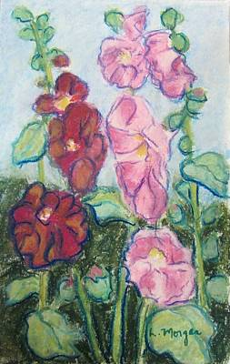 Painting - Wild Hollyhocks by Laurie Morgan