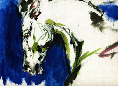 Abstract Equine Art Painting - Wild Horse by Angel Ciesniarska