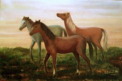 Art Print featuring the painting Wild Horses At Sunset by Laila Awad Jamaleldin