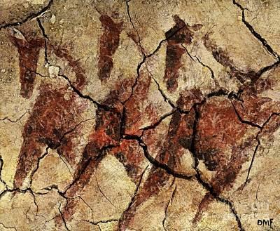 Wild Horses - Cave Art Original by Dragica  Micki Fortuna