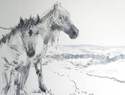 Painting - Wild Horses Drawing by Mike Jory