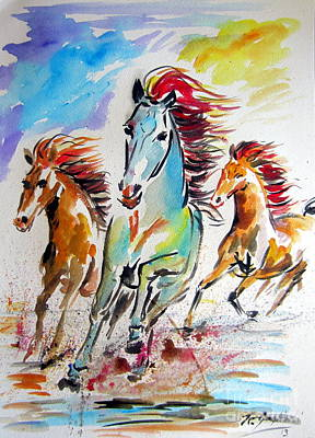 Wild Horse Drawing - Wild Horses Running by Roberto Gagliardi
