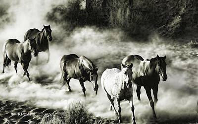 Wild Hosses Re Edited  Art Print by Robert Rhoads