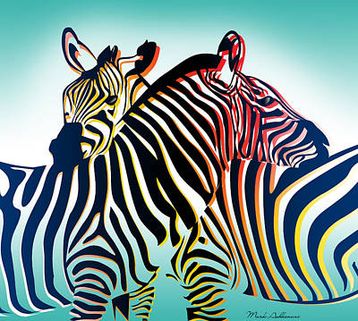Zebra Wall Art - Digital Art - Wild Life  by Mark Ashkenazi