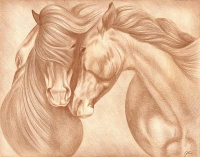 Wild Horse Drawing - Wild Love by Genevieve Desy