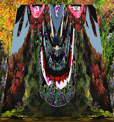 Love Park Mixed Media - Wild Monster Mink Arising Out Of The Jungle Trees Green Grass River Mountain And Towering High Over  by Navin Joshi