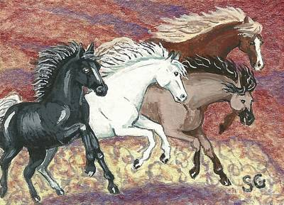 Canter Painting - Wild Mustangs -- Cresting The Ridge by Sherry Goeben