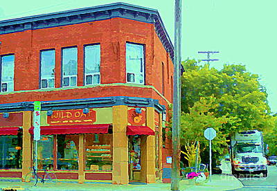 Painting - Wild Oat Bakery Cafe Veggie Restaurant Quaint Corner Shop The Glebe Ottawa Scenes Cspandau Paintings by Carole Spandau