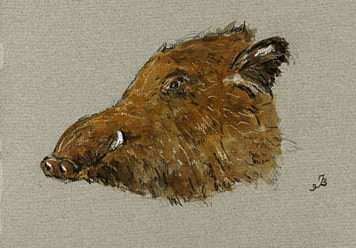 Boar Painting - Wild Pig by Juan  Bosco