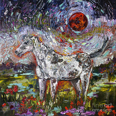 Painting - Wild Pony Under Crimson Moon by Ginette Callaway