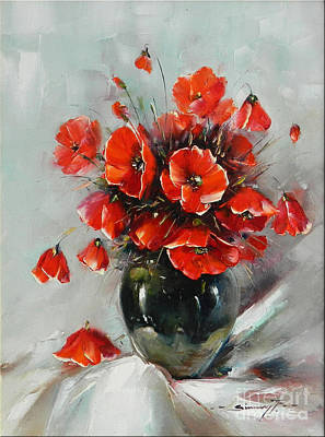 Handmade Glass Flower Painting - Wild Poppies Bouquet by Petrica Sincu