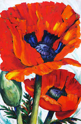 Floral Arrangement Painting - Wild Poppies - Floral Art By Betty Cummings by Sharon Cummings