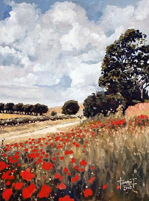 Poppies Field Drawing - Wild Poppies, Hertfordshire, 2010 by Cruz Jurado Traverso