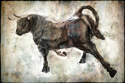 Minoan Digital Art - Wild Raging Bull by Daniel Hagerman