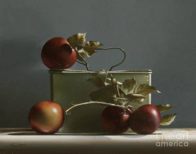 Realist Painting - Wild Red Apples - Study No. 2 by Larry Preston
