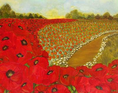 Painting - Wild Red Poppies by Yesi Casanova