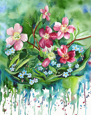 Wall Art - Painting - Wild Roses And Forget Me Nots by Karen Mattson