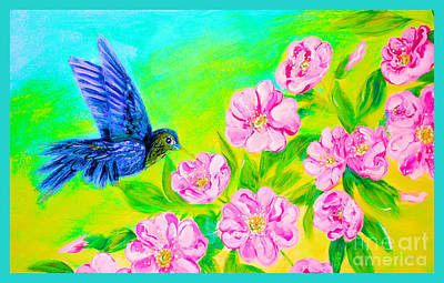 Mixed Media - Wild Roses And Hummingbird In My Garden  by Oksana Semenchenko