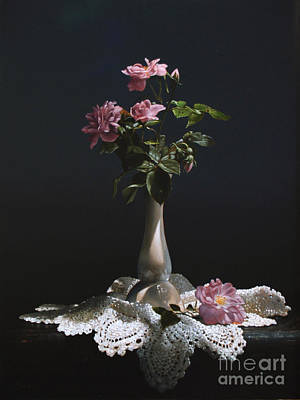 Doily Painting - Wild Roses by Larry Preston