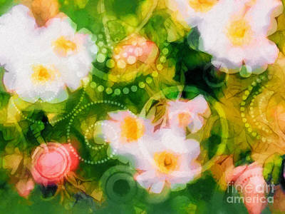 Flower Abstract Mixed Media - Wild Roses by Lutz Baar