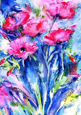 Art Print featuring the painting Wild Scarlet Poppies  by Trudi Doyle