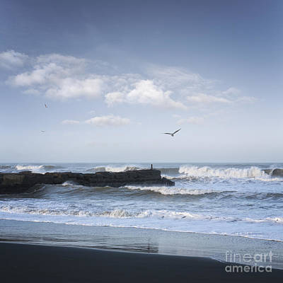 Wild Seascape With Old Jetty And Seagulls Overhead  Art Print by Colin and Linda McKie