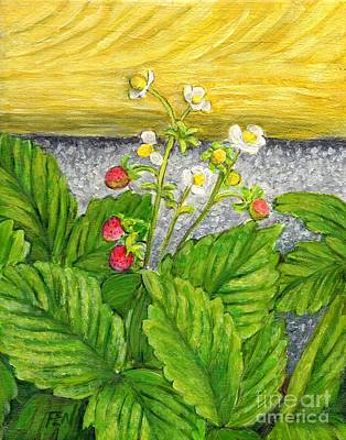 Art Print featuring the painting Wild Strawberries In Summer by Jingfen Hwu