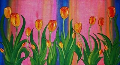 Art Print featuring the painting Wild Tulips by Cindy Micklos