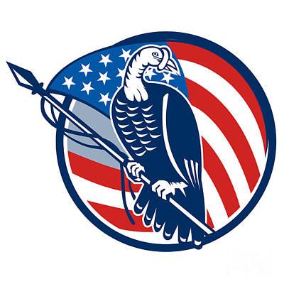 Poultry Digital Art - Wild Turkey Perching American Flag by Aloysius Patrimonio