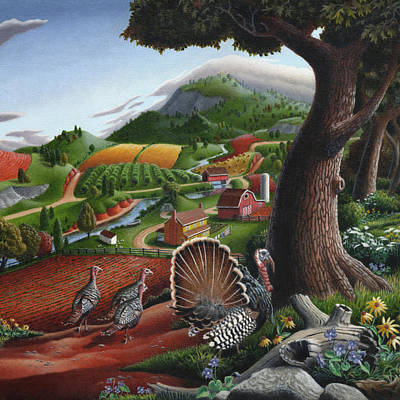 Pennsylvania Farm Painting - Wild Turkeys In The Hills Country Landscape - Square Format by Walt Curlee