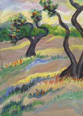 Landscapes Painting - Wild Vineyard Quadriptych Part Three by Linda Mears