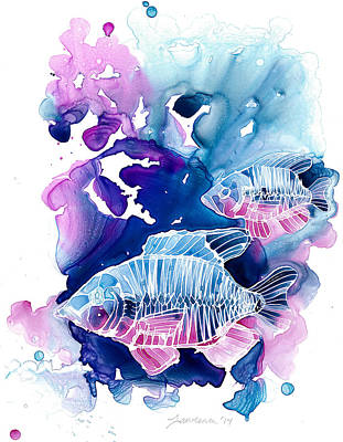 Fish Painting - Wild Water by Mike Lawrence