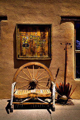Wheel Photograph - Wild West T-shirts - Old Town New Mexico by David Patterson