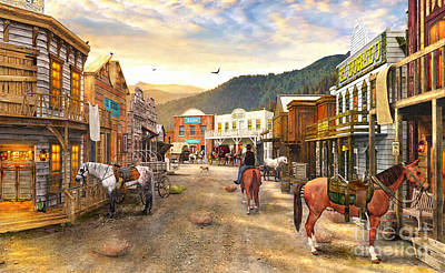 Streetscenes Digital Art - Wild West Town by Dominic Davison