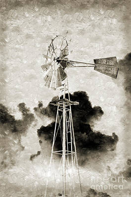 Andee Design Monochrome Photograph - Wild West Windmill Bw by Andee Design