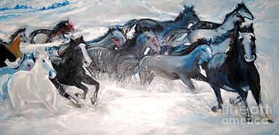Painting - Wild Wild Horses by Helena Bebirian