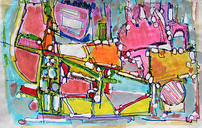 Hari E. Thomas Abstract Painting - Wild World In The City by Hari Thomas
