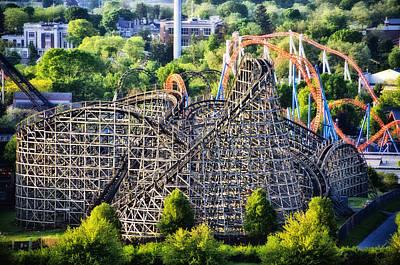 Rollercoaster Digital Art - Wildcat Roller Coaster - Hershey Park by Bill Cannon