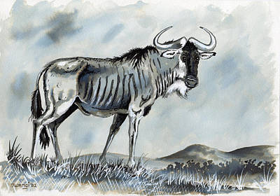 Oil Drawing - Wildebeest by Anthony Mwangi