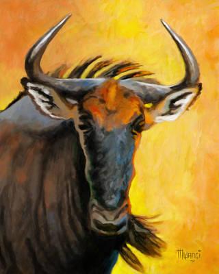 Animal Behavior Painting - Wildebeest Head by Anthony Mwangi