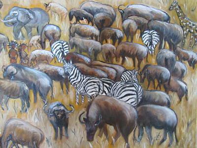 Wildebeest Migration In Kenya Art Print