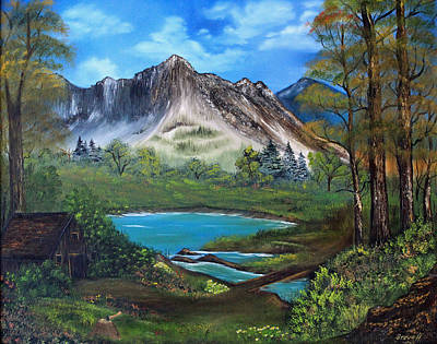 Cabin Painting - Wilderness Retreat by Stephen Helton