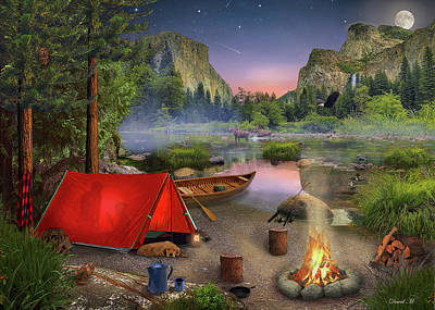 Art Print featuring the drawing Wilderness Trip by David M ( Maclean )