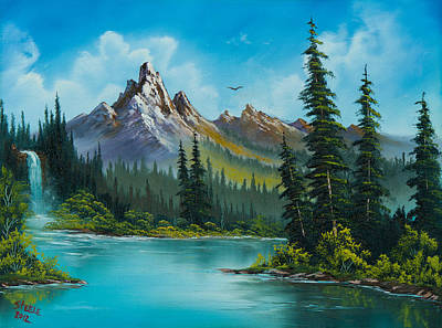 Sawtooth Mountain Art Painting - Wilderness Waterfall by C Steele