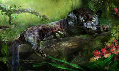 Jaguar Art Mixed Media - Wildeyes - Panther by Carol Cavalaris