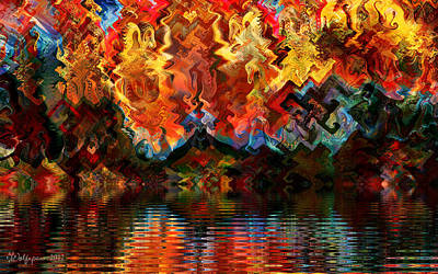 Abstract Digital Digital Art - Wildfire On Gnarl Lake by Peggi Wolfe