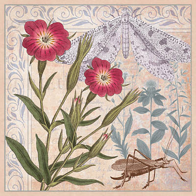 Grasshopper Digital Art - Wildflower Collage by Antique Images