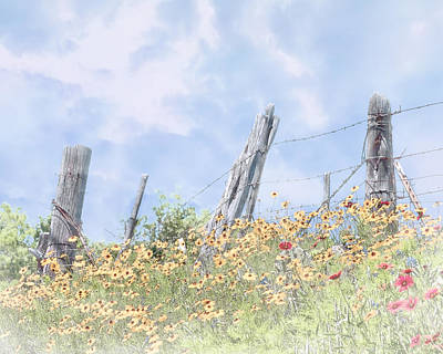 Photograph - Wildflowers And Fence Posts by David and Carol Kelly