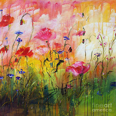 Painting - Wildflowers And Pink Poppies by Ginette Callaway